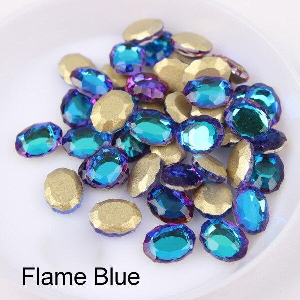 Зеркальная поверхность, не требующей горячей фиксации Стразы овальной формы 6x8 мм 30/100 шт./упак. для художественного оформления ногтей, ручная работа аксессуары свадебное платье для девочки ясельного возраста и сумка-чехол для нейл-арта - Цвет: Flame Blue