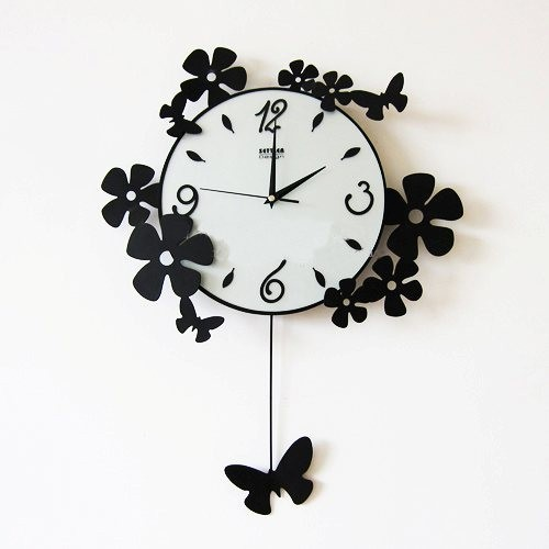 Acrylic Wall Clock Modern Minimalist Living Room Mute Clock Watch Butterfly  Garden Decoration Ideas Promotion Freeshipping