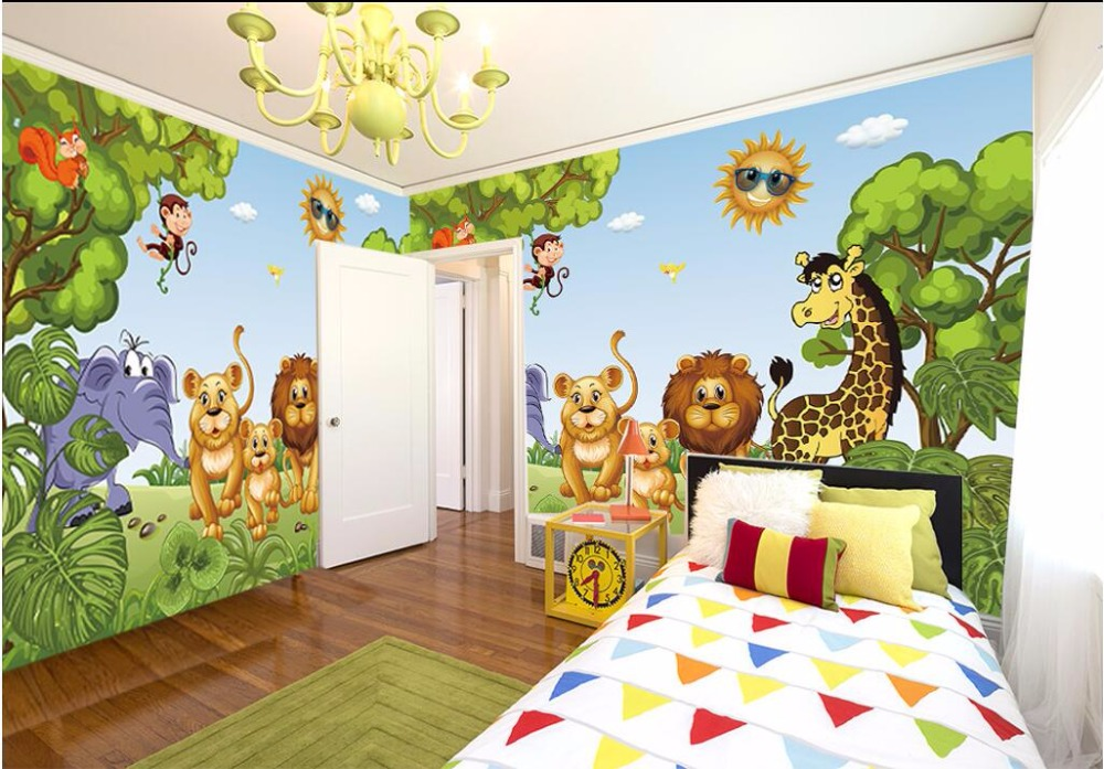3d room photo wallpaper custom mural non-woven Children room forest animals painting 3d wall murals wallpaper for walls 3 d 3d wallpaper custom mural non woven cartoon animals at 3 d mural children room wall stickers photo 3d wall mural wall paper