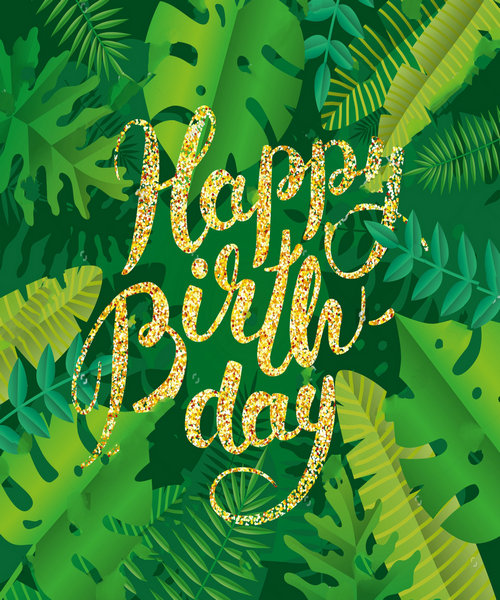 Birthday Party Jungle Gold Tropical Summer Banner, Header Green backdrops Vinyl cloth Computer print wall background