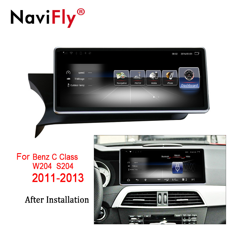 NaviFly 3+32 Android 7.1 car multimedia player for Mercedes Benz C Class C-Class W204/S204 2011 to 2013 GPS Video Audio 4G LTE