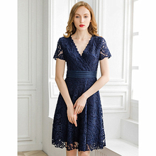 Spring and Summer New V-neck Embroidered Waist Large Swing Lace A Word Temperament Dress Fashion Slim Short-sleeved Embroidery women s 2019 summer new ladies temperament v neck sleeveless waist slimming large swing dress