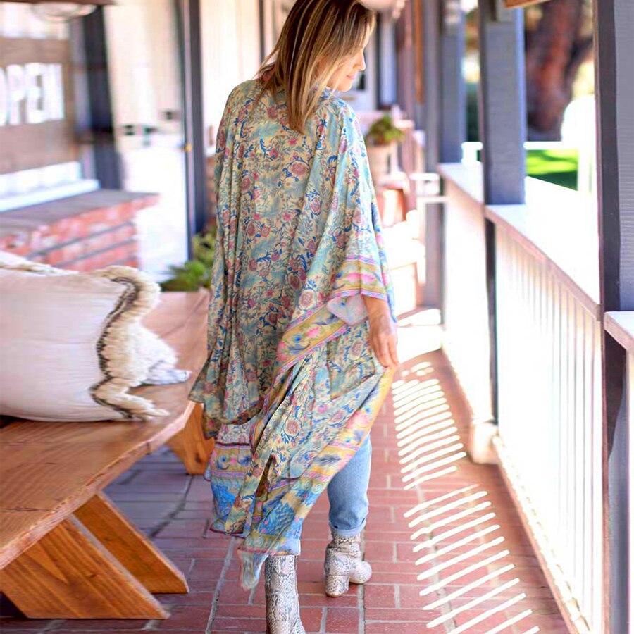 78cac0a6882 CHEAP TEELYNN women boho Wrapped dresses rayon floral print kimono sleeve  beach wear summer dresses loose long women dresses Vestido