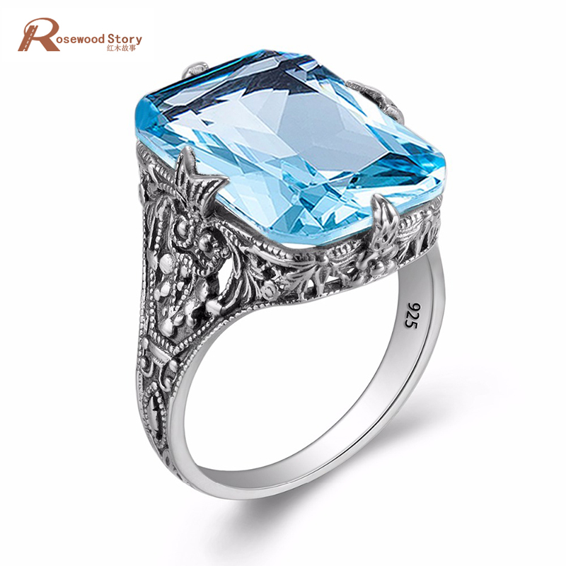 Charms Handmade Blue Stone Finger Ring Square Cut Pure 925 Sterling Silver Crystal Rings for Women Fashion Luxury Jewelry blue handmade geometric pattern embroidery finger rings