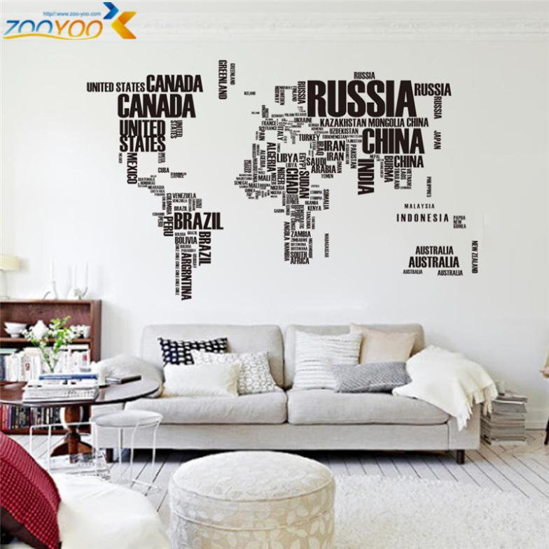 Mapa do mundo de parede stikers letras criativas decorações home office sala de estar adesivo de parede do pvc decalques zooyoo95ab mural art