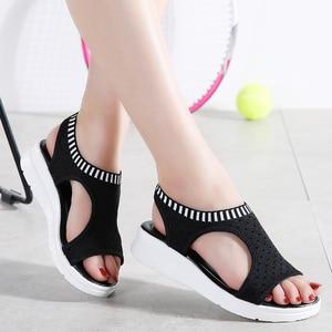 Image 2 - WDZKN sandales dété à mailles dair pour femmes, chaussures dété à bout ouvert, sandales respirantes, plateforme, collection 2020