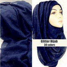 Fashion Plain Glitter Hijab Maxi Shimmer Shawls Women Sparkling Scarves muslim head scarf big size shawl soft wraps hot sale