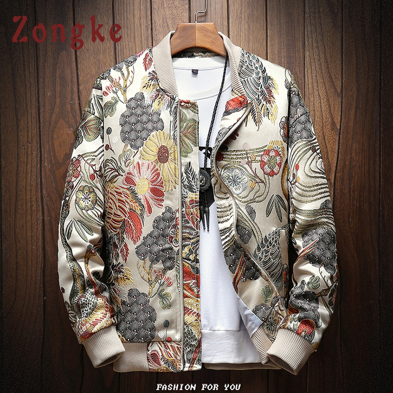 Zongke Japanese Embroidery Hip Hop Streetwear Coat Bomber Jacket Men Clothes 2019