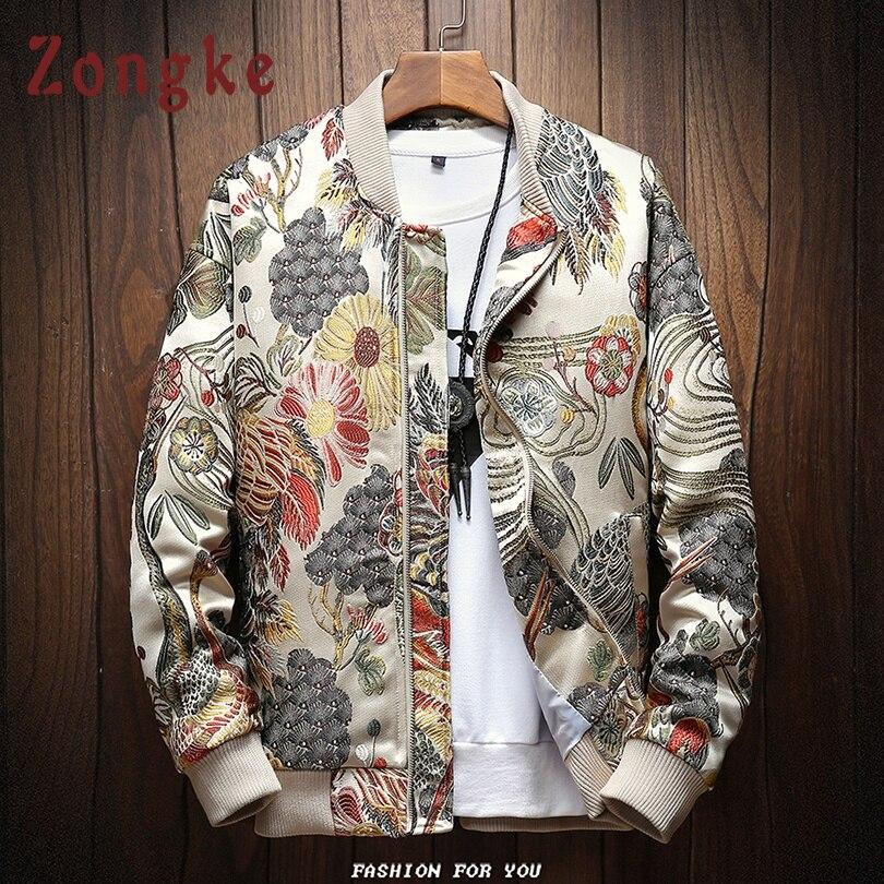 Мужская ветровка Zongke, повседневная облегающая куртка-бомбер с японской вышивкой на осень и зиму, M-5XL