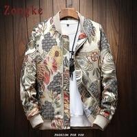 Zongke Japanese Embroidery Men Jacket Coat Man Hip Hop Streetwear Men Jacket Coat Bomber Jacket Men Clothes 2019 Sping New