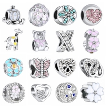 1PC Making Silver European Charms Beads Fit Brand Bracelet Jewelry Tibetan Crystal Spacer