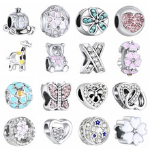 1PC Making Silver European Charms Beads Fit Brand Bracelet Jewelry Making Tibetan Silver Crystal Spacer Beads(China)