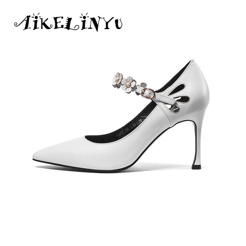 AIKELINYU Women Genuine Leather Pumps Fashion White Flower Pointed Heels Shoes Office Lady Wedding Womans