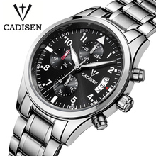 2016 Men's Cadisen Brand Fashion Casual Watches Men Waterproof 30M stopwatch Quartz Watch Leather Strap Army Military WristWatch
