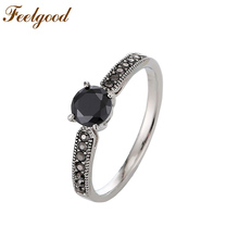 Feelgood 2017 New Fashion Wedding Party Jewelry High Quality Vintage Black Cubic Zirconia Female Ring For Women Gift