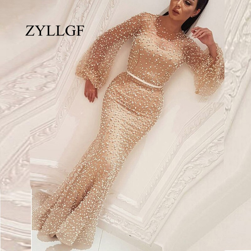 ZYLLGF Robe De Soiree Arabic Champagne Mother Of Bride Dress Middle East Full Pearls Abendkleider Mermaid Party Dresses RS123