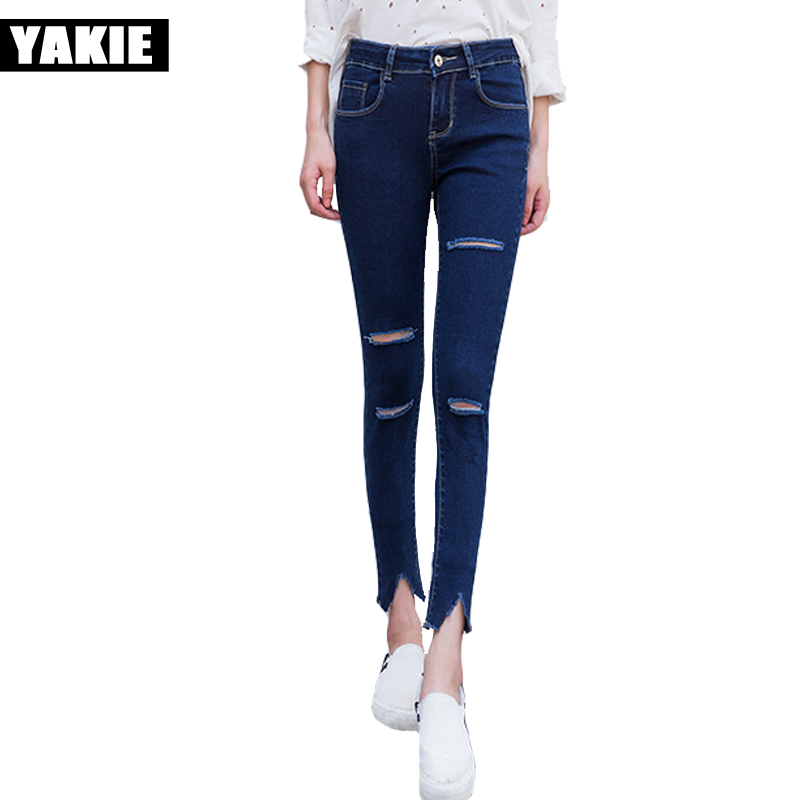 High waist jeans women skinny slim ripped hole pencil pants female trousers blue denim jeans femme mujer vintage girl jeans women s high street ripped knees jeans strech low rise denim pencil skinny pants trousers femme jeans for women jean hole jeans