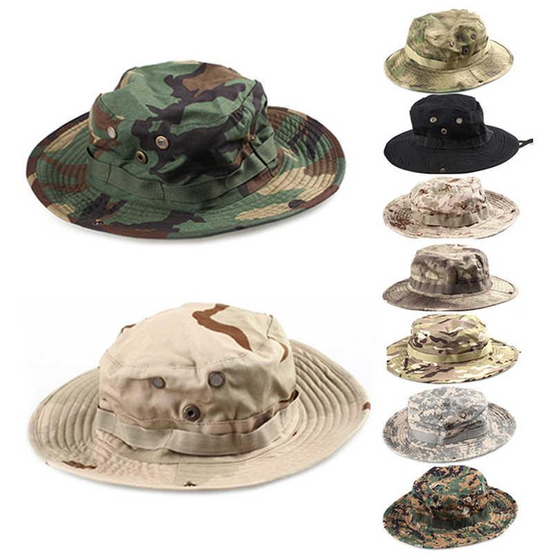 قبعة للصيد في الهواء الطلق للرجال من 17 لونًا قبعة تكتيكية عسكرية بنمط بيثون مموهة بحافة مستديرة قبعة صياد بقبعة من Boonie