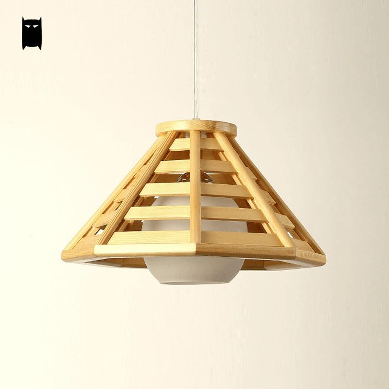 Oak Wood Shade Pendant Light Fixutre Rustic Nordic Korean Asian     Oak Wood Shade Pendant Light Fixutre Rustic Nordic Korean Asian Japanese  Style Tatami Hanging Lamp Indoor Home Dining Table Room in Pendant Lights  from