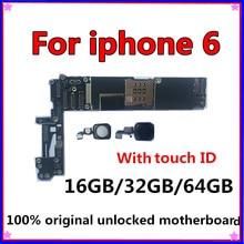 Оригинальная разблокированная материнская плата для iphone 6 с сенсорным ID/без Touch ID, материнская плата для iphone 6, 16 ГБ/32 ГБ/64 ГБ