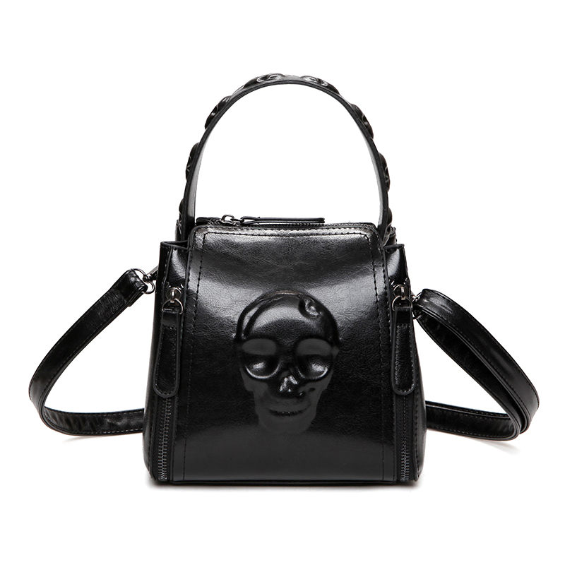 Black Skull Bags Clutch Women Handbag PU Embossed Leather Tote Vintage Retro Cranium Lady Skeleton Shoulder Bag Bolsa De Caveira