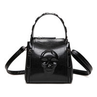 Embossed Solid Skull Bags For Women Handbags PU Black Leather Tote Vintage Retro Shoulder Bag Torby