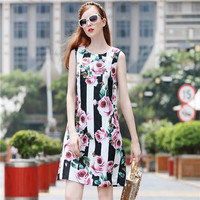 2017 summner autumn new arrival sleeveless casual women's dress floral printed white black stripe dresses top end quality rose