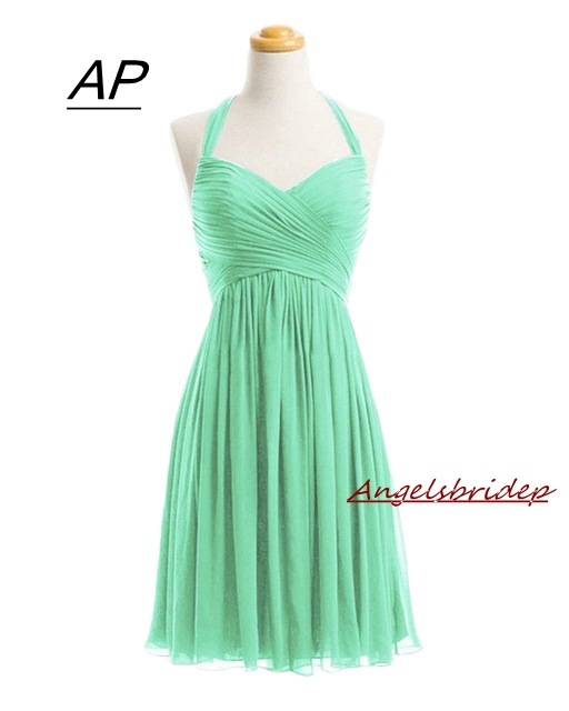 ANGELSBRIDEP Short Mint Green Halter Cocktail Dresses 2019 Chiffon Homecoming Dress Special Occasion Mini Formal Prom Party Gown