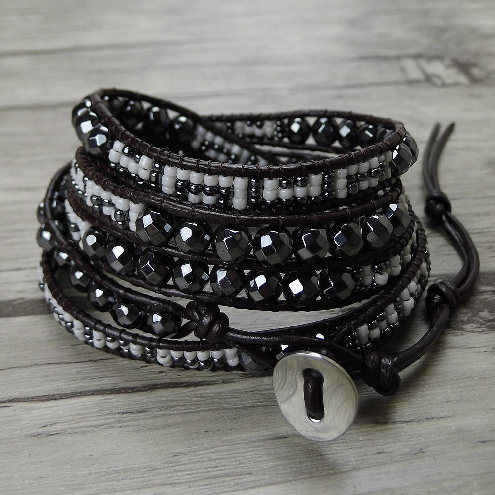 Black hematite beads wrap bracelet tiny seed beads bracelet 5 leather wraps bracelet yoge jewelry bohemian natural stone все цены