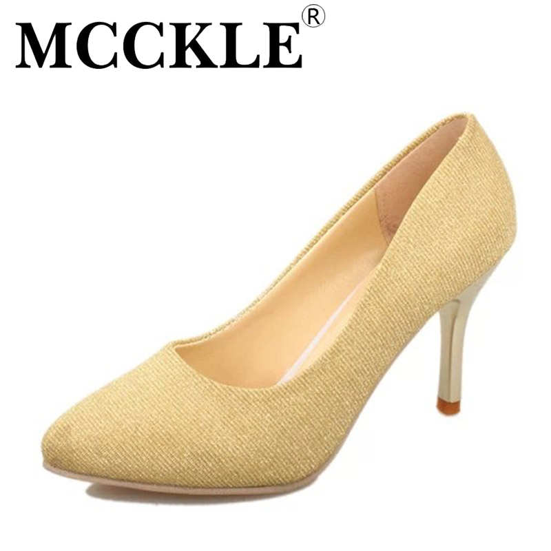MCCKLE 2017 New Fashion Women Shoes High Heels Woman Pointed Toe Ladies Party Office Pumps Casual Comfortable Plus Size 35-43 plus size 34 49 new spring summer women wedges shoes pointed toe work shoes women pumps high heels ladies casual dress pumps