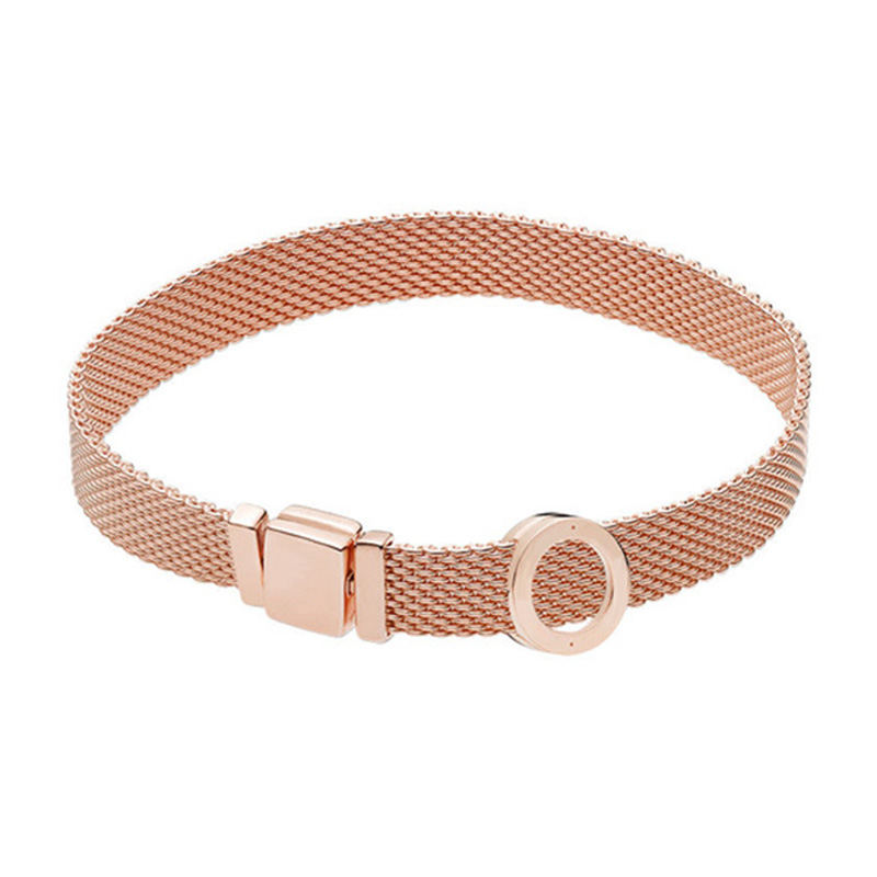 NEW 100% 925 Sterling Silver Reflexions Bracelet Set Rose Gold Round Elegant Fit European DIY Original Charm Bead Jewelry GiftNEW 100% 925 Sterling Silver Reflexions Bracelet Set Rose Gold Round Elegant Fit European DIY Original Charm Bead Jewelry Gift
