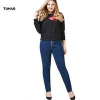 TUHAO 2017 plus size High Waist Woman Denim Pencil Pants streetwear big size Jeans Pants Women Jeans casual female pants PT12