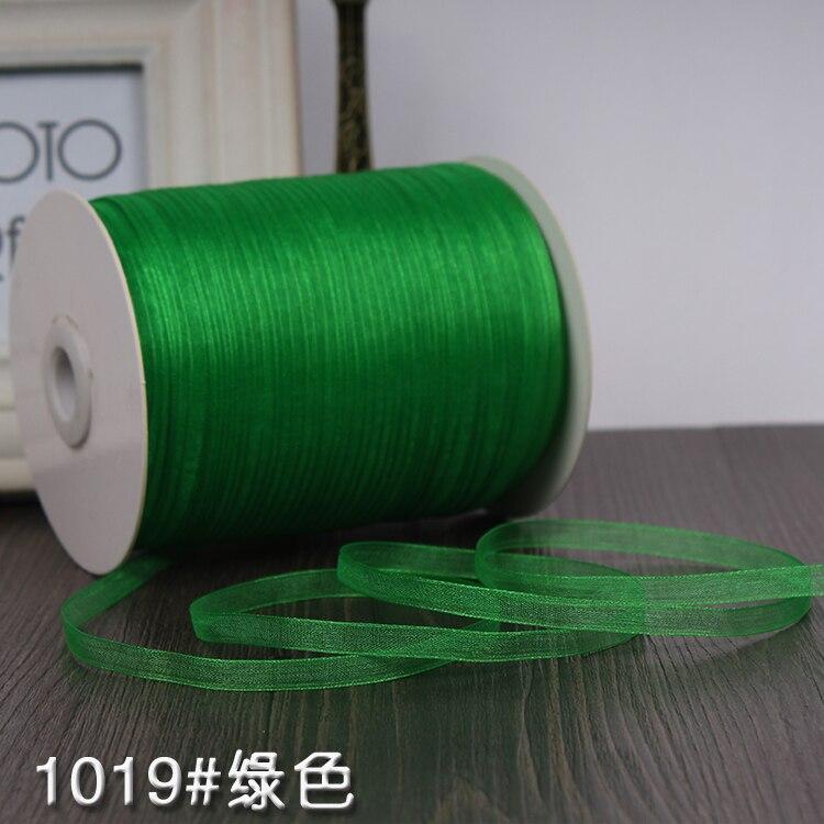 """Ленты цвета шампанского(10 м/лот) 1/""""(6 мм) ленты из органзы,, ленты для украшения свадьбы, Рождества, дня рождения, подарочной упаковки - Цвет: Green"""