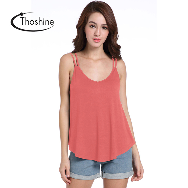 bfc1791564 Thoshine Brand Summer Style Women Hollow Out Loose Tank Tops Deep V-Neck  Solid Color