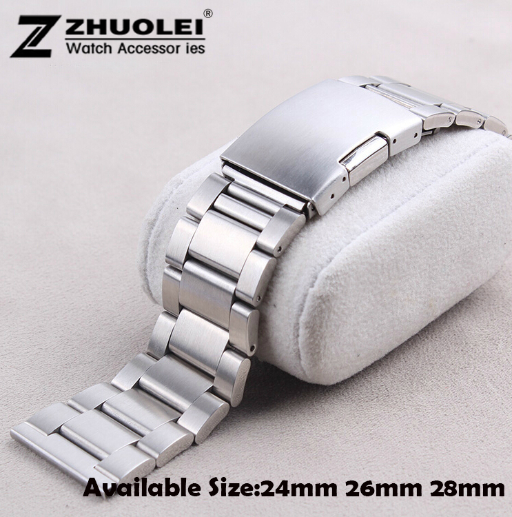 New Brushed Stainless Steel Watchband 24mm 26mm 28mm Watch Band Strap for Men Wrist Watch Free Shipping все цены