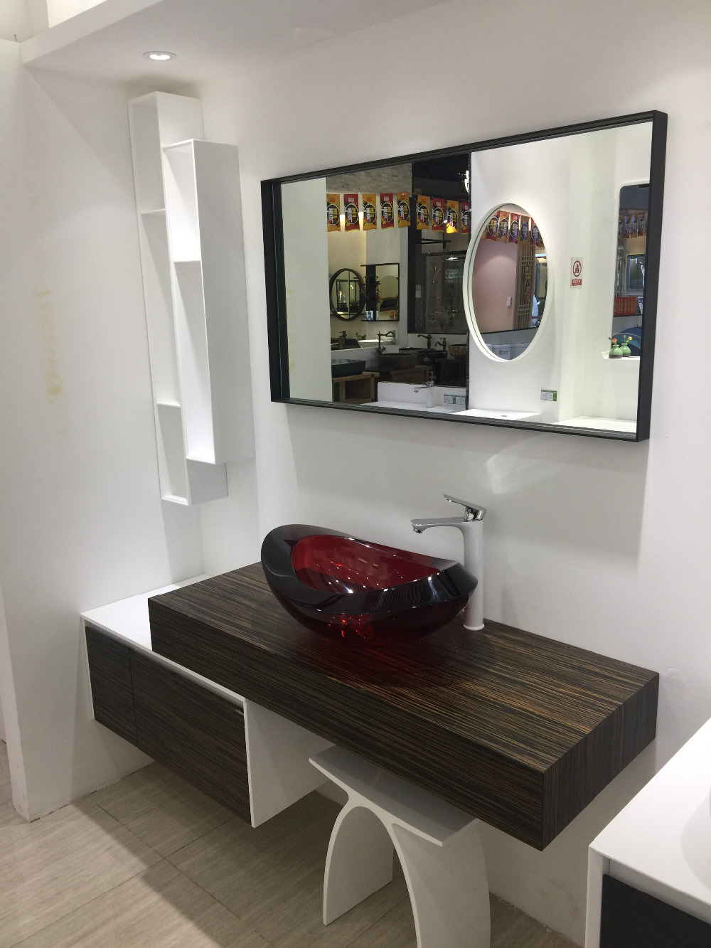 1200mm Wall Mounted Solid Surface Stone Single Basin With Soild Wooden Bathroom Vanity Cloakroom Cabinet Oka Furniture 2225F-0