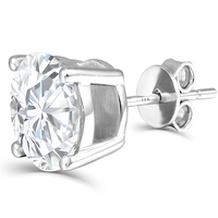 Fine Jewelry Platinum Plated Silver Moissanites Stud Earrings Total 2CTW Diamond Lab Grown Gem 4 Prong