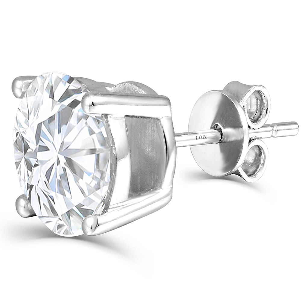 Joyería fina plateado platino plata moissanites Pendientes de broche total 2ctw diamante laboratorio crecido joya 4 puntas de diamante pendiente