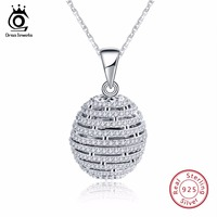 ORSA JEWELS Top Quality Trendy Round 925 Sterling Silver Necklace Pendant AAA CZ Necklaces With 45CM