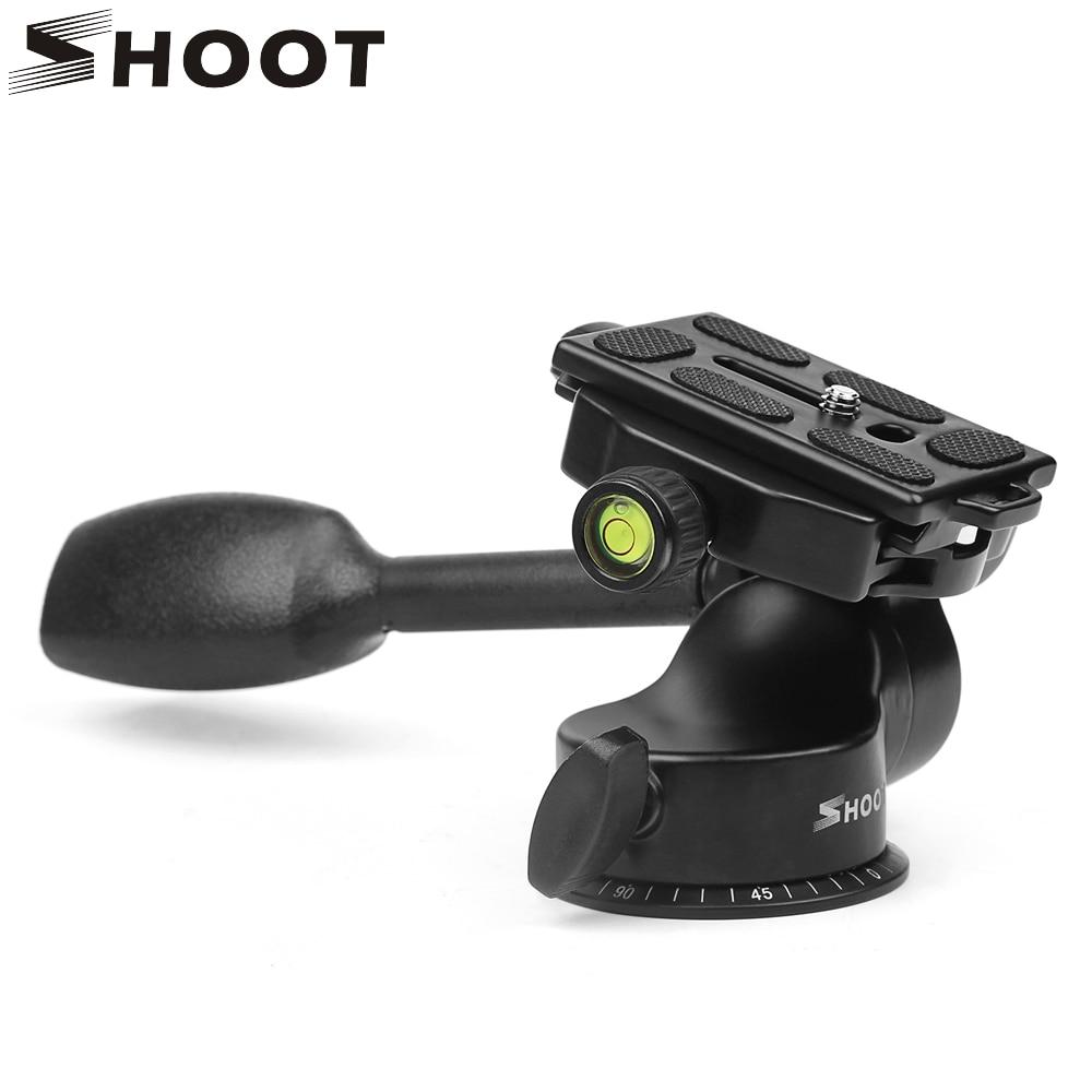 SHOOT Professional Aluminum 3-Way Fluid Rocker Arm Video Ball Head Quick Release Plate for Canon Nikon DSLR Cam Tripod Monopod