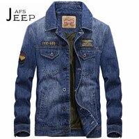 AFS JEEP Man S Military Autumn Winter Denim Jacket Dark Blue Original Brand Cotton Material Chest