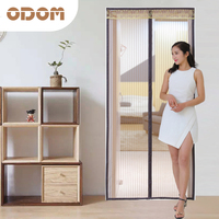 Encryption Stripe Anti Mosquito Door Curtain Nets Window Screen Mute Closed Door Curtain Coffee90 210cm 100