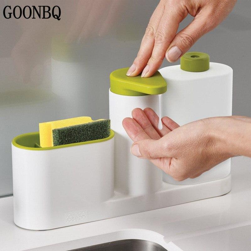 GOONBQ 1 stück Küche Waschen Schwamm Lagerung Waschbecken Kunststoff Seifenspender Lagerregal Händedesinfektionsmittel Flasche Dropshipping