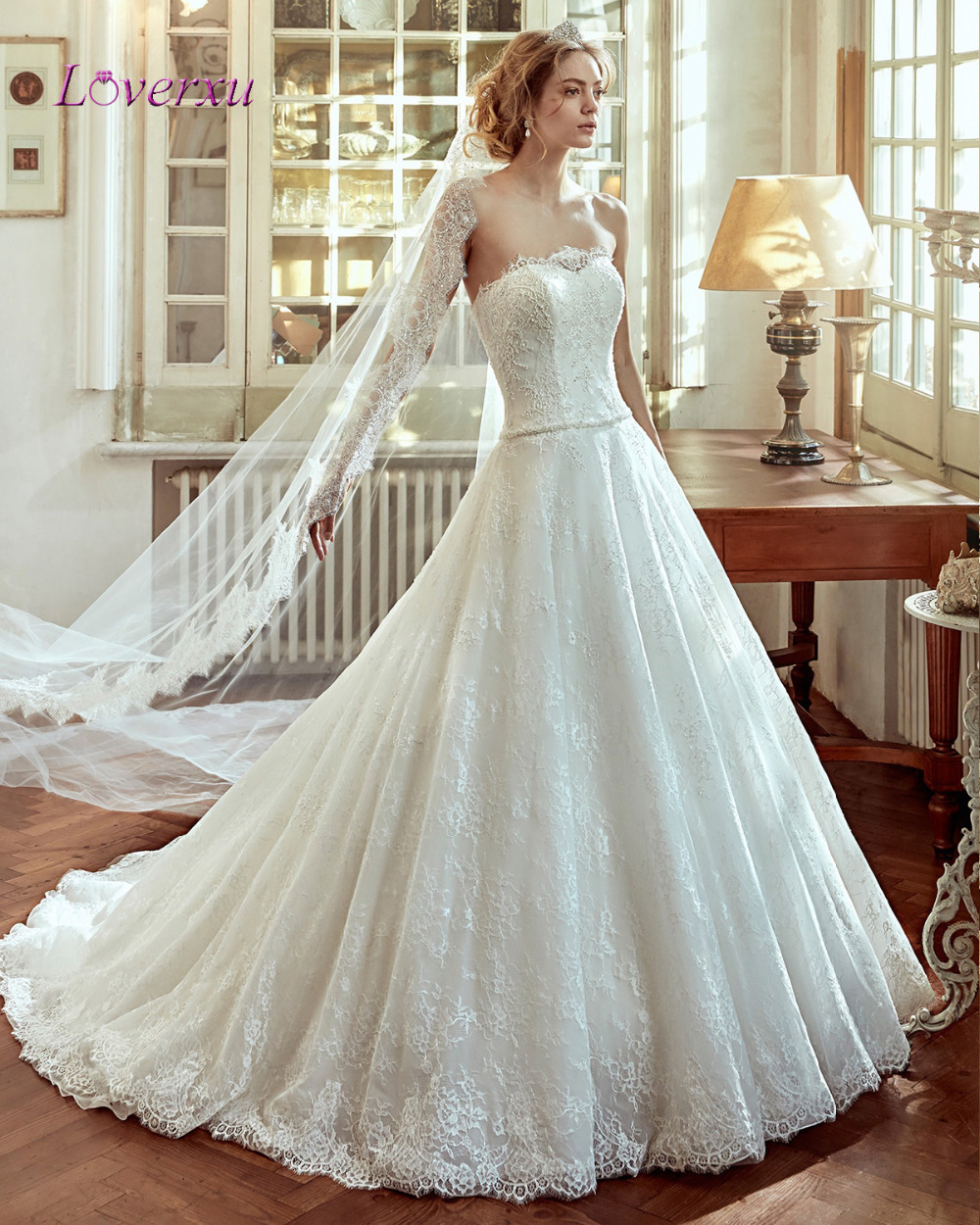 loverxu designer strapless luxury appliques lace a line bride dress 2016 beaded sashes court train zipper