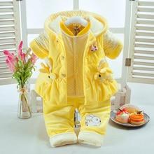 Autumn Winter Baby Girl Clothes Set Pink Rabbit Style Add Cotton-Padded Thick Warm 0-2T Newborn Infant 3Pcs/Set