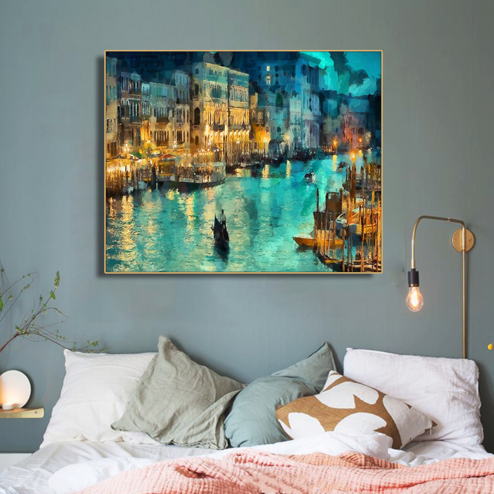 Canvas Painting Calligraphy Nordic Posters Pictures Wall Art Watercolor Night Town Scenery Prints Decor For Living Room Bedroom