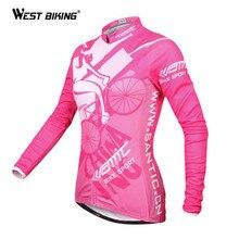 WEST BIKING Women Bike Jersey Long Sleeve Autumn Winter Bicycle Clothing Warm Running Jacket Thermal Winter Cycling Jersey