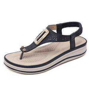 Image 5 - TIMETANGSummer แพลตฟอร์ม Flip Flops ผู้หญิงชายหาดรองเท้าแตะหนังนุ่มสบายรองเท้าส้นสูงรองเท้าโลหะขนาดใหญ่