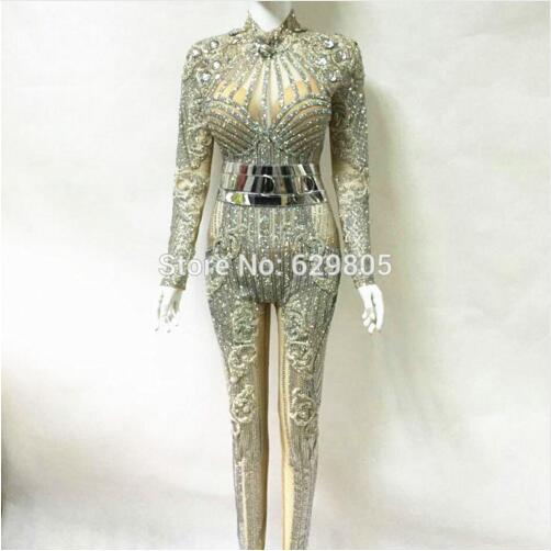 b55a822f3d US $620.0  Fashion Bright Crystals Diamonds Party Rompers Costumes Female  Singer Performance Prom Celebrate Outfit Bodysuit-in Jumpsuits from Women's  ...