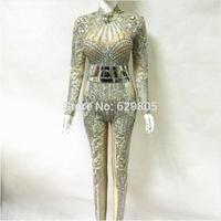 Fashion Bright Crystals Diamonds Party Rompers Costumes Female Singer Performance Prom Celebrate Outfit Bodysuit
